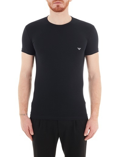Emporio Armani  Slim Fit Bisiklet Yaka Pamuklu T Shirt Erkek T Shırt 111035 Cc735 00020 Siyah